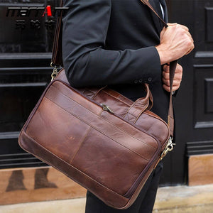 Luxury Vintage Natural Skin men briefcase handbag Genuine leather Travel Business Bag Large male Shoulder Messenger laptop bags | akolzol
