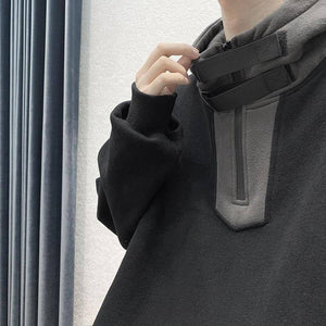 Men Hoodies Patchwork Zipper Ins Chic Hooded Sweatshirt Male High Street Front Pocket All-match Loose Simple Daily Streetwear | akolzol
