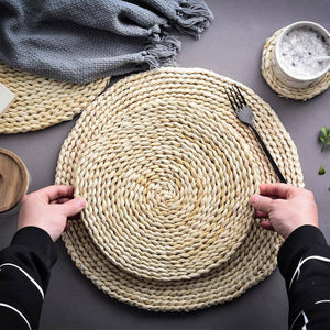 Japanese Style Natural Corn Husk Woven Heat Insulation Mat Table Placemat Non-Slip Bowl Coaster Tableware Hotel Cutlery Pad | akolzol
