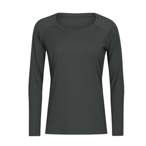 Naked-feel Fabric Skin Friendly Workout Yoga Long Sleeved Shirts Women Breathable Lightweight Loose Running Sport Tops | akolzol