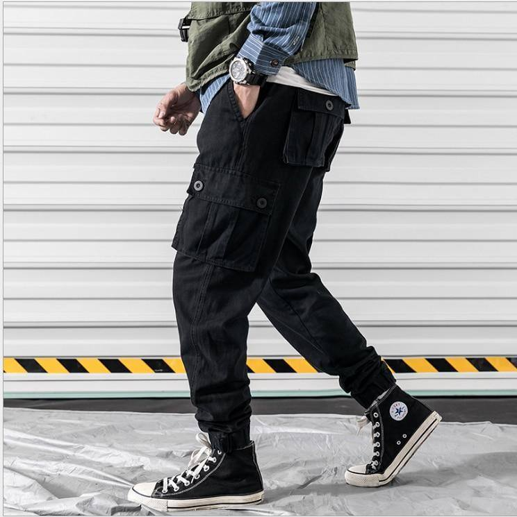 2020 Black Cargo Pants Men with Many Pockets Vintage Sports Joggers Pants Men Clothing Cotton Fashion | akolzol