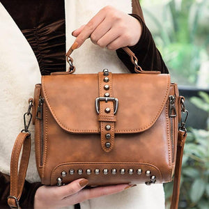 New Women Messenger Bags Crossbody Bags Vintage Pu Leather Bags Handbags Women Famous Brand Rivet Small Shoulder Bag | akolzol