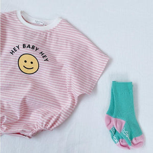 Baby Clothes Overalls Baby Bodysuit Short Sleeves Striped Baby Girls Clothes Boys Clothing Cotton Cartoon Smiley Baby Jumpsuit | akolzol