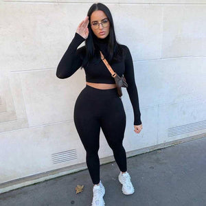 2020 Autumn Tracksuit Women Sets Workout Crop Top Two Piece Set Women Tight Sweatsuit 2 Piece Sweat Suits Women Outfits | akolzol