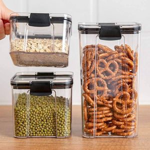 Kitchen Storage Container Set Food Airtight Container Top Plastic Cereal Dispenser Grain Rice Noodle Container Storage with lids | akolzol
