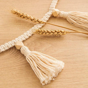 Bohemia Macrame Handmade Woven Tassels Garland Wooden Beads Cotton Rope Decorative Wall Hangings Home Baby's Room Decor | akolzol