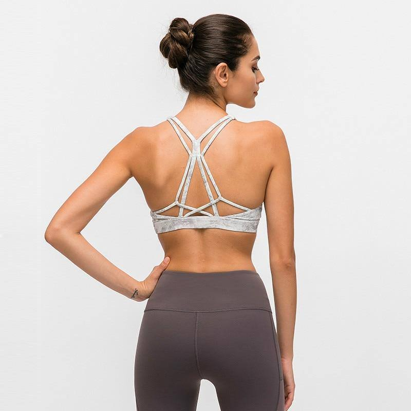 Beautiful Strappy Workout Sports Bras Tops Women Naked-feel Wireless Yoga Fitness Bras Padded Push Up Athletic Tops | akolzol