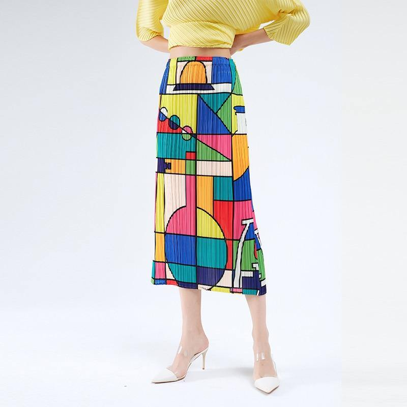 Pleated skirts womens 2020 geometric print a-line long korean skirt  multicolor stitching split Wrap straight boho skirt (Photo Color) | akolzol