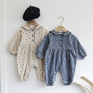 Baby Autumn Winter Plus Velvet Long Sleeve Romper Dot Print Baby Boys Girls Warm Jumpsuit Clothes One-piece For Newborn | akolzol