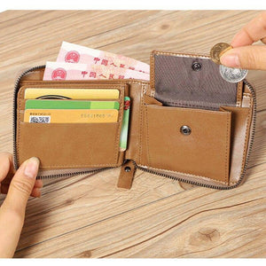 New luxury men and women cowhide wallet genuine leather short zipper wallet coin purse card holder multi-card fashion wallets | akolzol