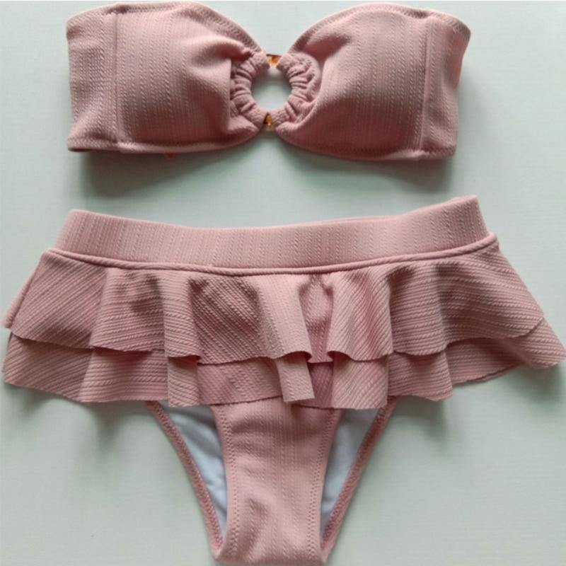 High waist sexy bikini set Ruffle bandeau bikini 2020 Pink swimwear Frill women's swimsuit female Ring retro bathing suit | akolzol