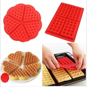 Baking Mold High-temperature Heart Shape Silicone Waffle Mold Cake Mould Non-stick DIY Baking Tool Mold Kitchen Bakeware | akolzol
