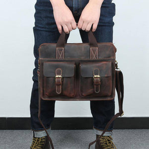"Special Offer Pure Handmade Crazy Horse Leather Vintage Briefcase 14"" Laptop Bag Retro Genuine Leather Men Handbags (dark brown) 