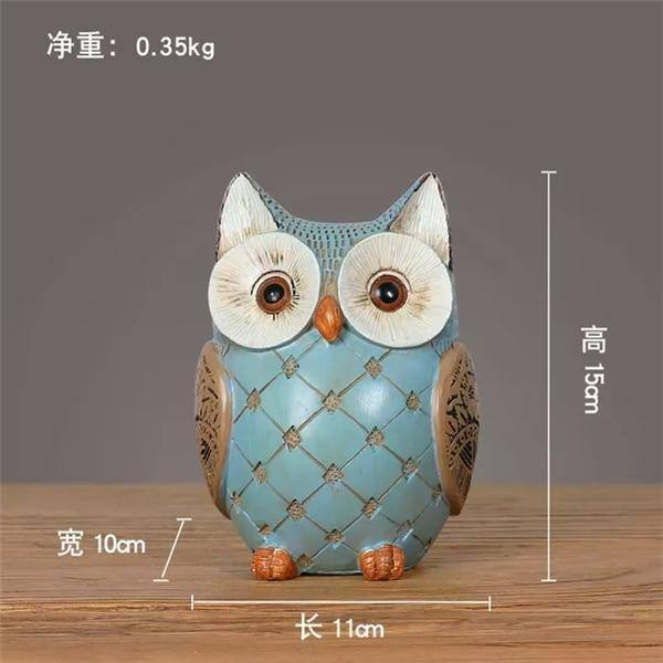 retro nostalgic owl decor Animal Figurines Resin Miniatures Home Decoration Living Room Ornaments cute pet modern designe Crafts | akolzol