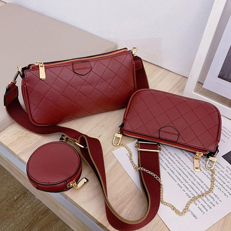 3 Pcs/Set Luxury PU Leather Small Crossbody Bags For Women 2020 Solid Color High Quality Shoulder Bags Female Travel Handbags | akolzol