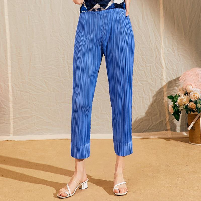pleated pants women spring summer 2021 women high waist blue trousers loose Pencil Pants slim cropped Ankle-Length Pants | akolzol
