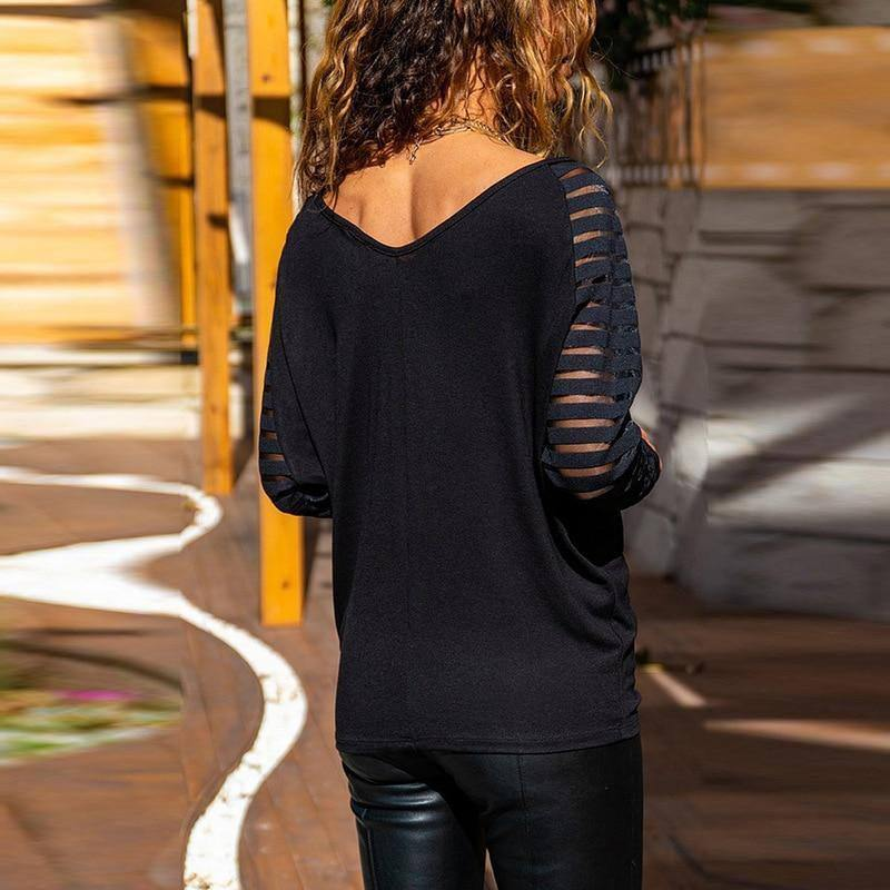 New Autumn Woman Tshirts Large Size Solid Color V-Neck Hollow Stripes Long Sleeve Loose Aesthetic Women's Fall Clothing 2020 | 2020, Aesthetic, Autumn, Clothing, Color, Fall, Hollow, Large, Long, Loose, New, Size, Sleeve, Solid, Stripes, Tshirts, VNeck, Woman, Womens | akolzol