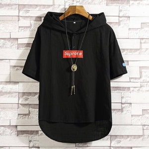 2020 Men's T-shirt loose fashion solid color Hoodie T-shirt fashion Hong Kong style short sleeve men's T-Shirt Top | akolzol