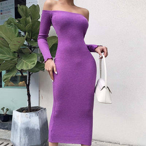 2020 Autumn Sexy Knitted Dress Women Ribbed Off Shoulder Dress Ladies Long Sleeve Midi Bodycon Tight Dress Female | 2020, Autumn, Bodycon, Dress, Female, Knitted, Ladies, Long, Midi, Off, Ribbed, Sexy, Shoulder, Sleeve, Tight, Women | akolzol