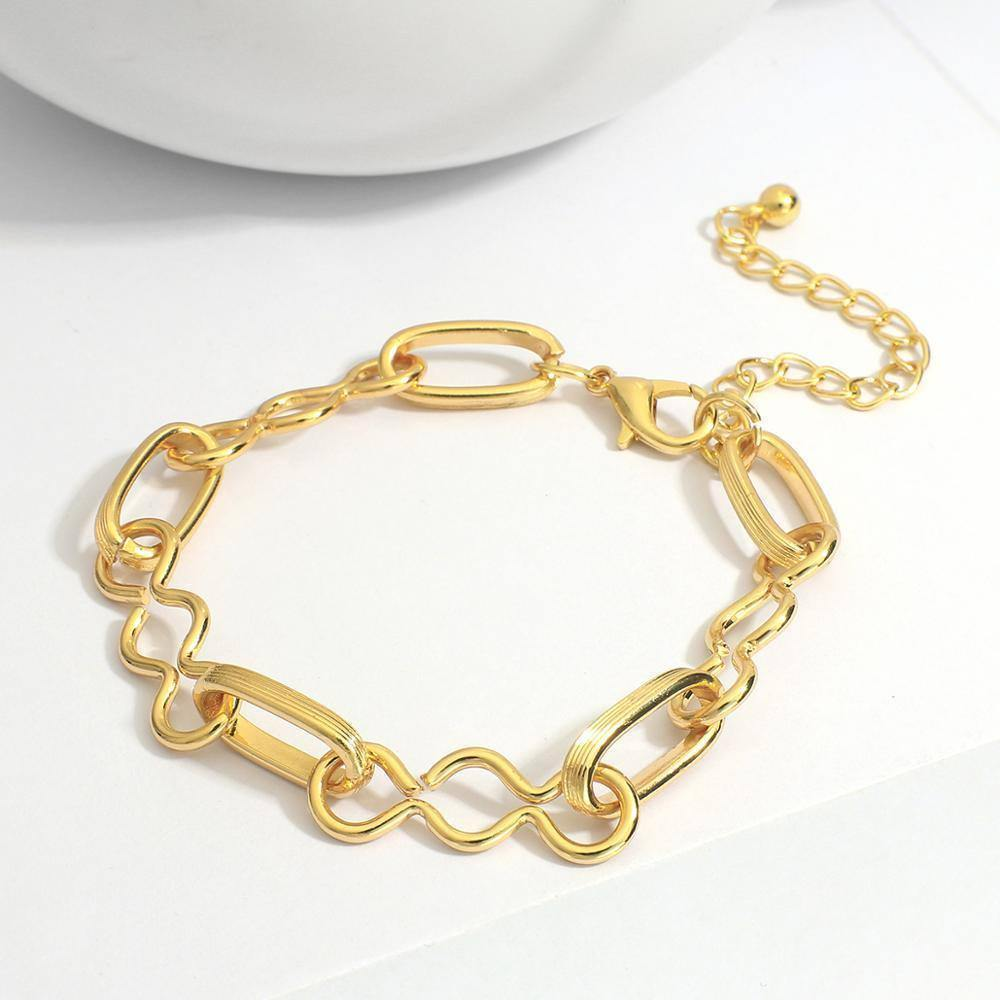 New Gold Color Irregular Twisted Rope Chain Bracelet Chunky Alloy Thick Chain Bracelets Women Fashion Jewelry | Alloy, Bracelet, Bracelets, Chain, Chunky, Color, Fashion, Flashbuy, for, Gold, Irregular, Jewelry, New, Rope, Thick, Twisted, Women | akolzol