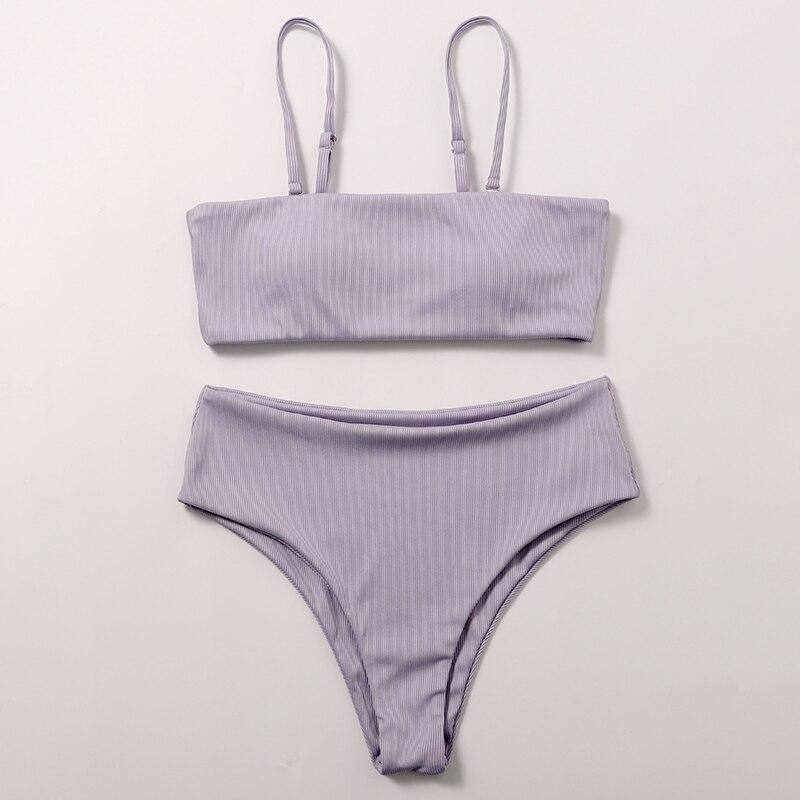 Retro women's swimsuit solid Female biquine Ribbed sexy bikini set Bandeau micro bikini 2020 Retro swimwear Bathing suit | akolzol