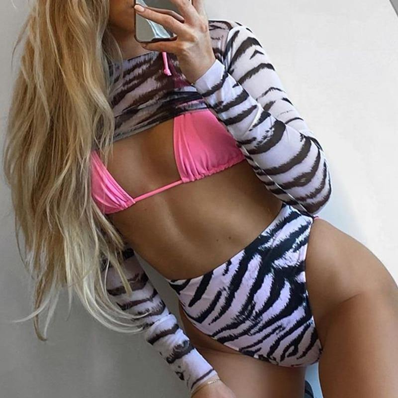 High waist bikini set 3-piece Mesh long sleeve swimsuit Pink triangle micro swimwear women Sexy striped bathing suit New | akolzol