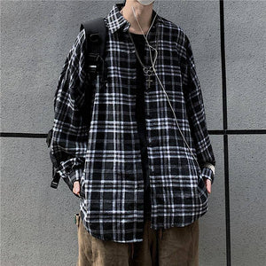 Spring Cotton Plaid Shirt Men's Fashion Retro Casual Shirt Men Streetwear Korean Loose Oversized Long Sleeve Shirts Mens M-XL | akolzol