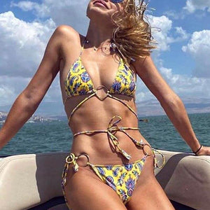 Leopard printed Brazilian bikini set Women's swimsuit female Ring bathing suit Micro sexy bikini Push up swimwear 2020 | akolzol