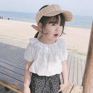 Summer Girls Solid Color and Simple White for Children Shirt baby girl clothes kids blouse | akolzol