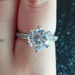 925 Silver Color Sterling 2 Carats Diamond Ring for Women Fine Anillos De Diamond Engagement Ring Band 925 Jewelry Gemstone Box | akolzol