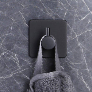 2/4/6 Packs Black Decorative Hooks Square Metal Coat Hook Self Adhesive Key Towel Wall Hook For Bathroom Kitchen | akolzol