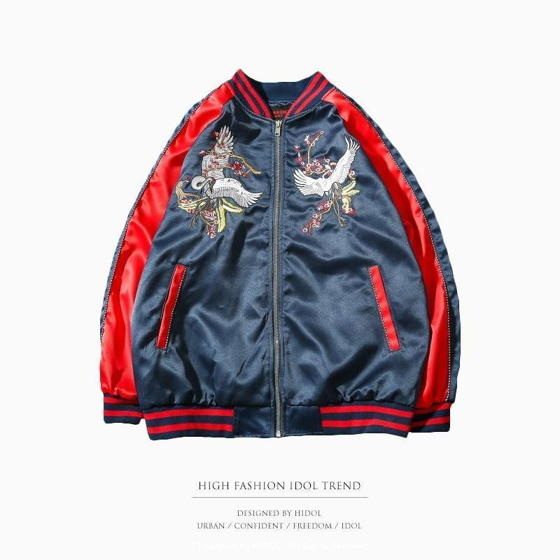 Jacket Bomber Military Souvenir Jacket Stitching Embroidered Bird Zipper Baseball Men's Hip-Hop Jacket | akolzol