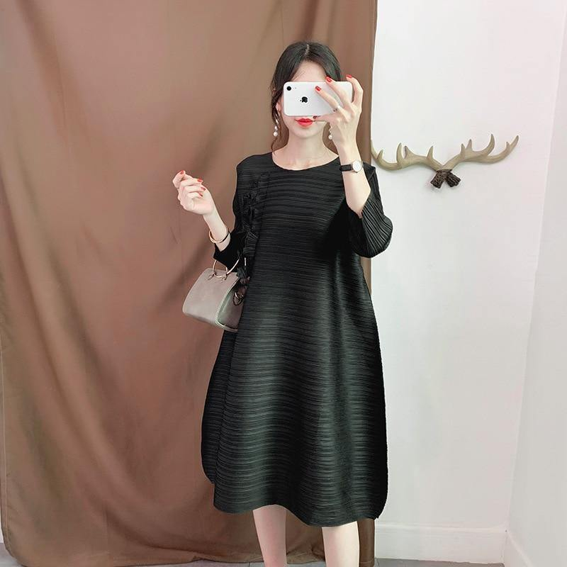 Pleated organ dress three quarter sleeves round neck plus size Chest appliques dress temperament women indie clothes | akolzol