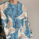 Winter men's crane cashmere printed high quality loose casual Pullover | akolzol