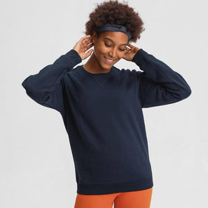 FLEECE Cozy Outdoor Sport Long Sleeve Sweatshirts Women Relaxed Fit Hip Length Leisure Fitness Gym Pullover Workout Top | akolzol