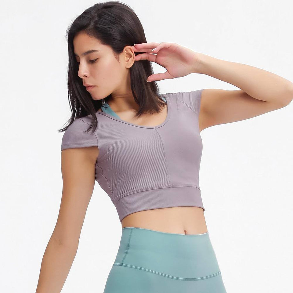 RIBBED V-neck Yoga Dance Sport Cropped T-shirts Tee Women Sexy Back Open Leisure Fitness Gym Workout Crop Tops XS-L | akolzol