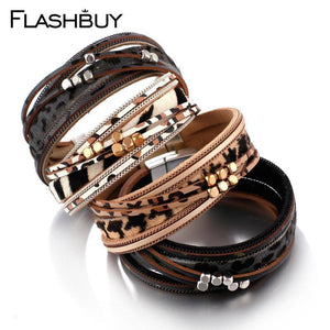 Leopard Leather Bangles For Women Fashion Metal Beads Multilayer Magnetic Warp Bracelets Party Jewelry Wholesale | Bangles, Beads, Bracelets, Fashion, FLASHBUY, For, Jewelry, Leather, Leopard, Magnetic, Metal, Multilayer, Party, Warp, Wholesale, Women | akolzol