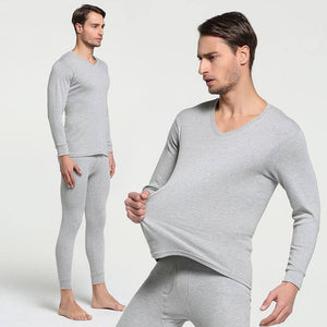 2019 Winter 100% Cotton Round Neck Warm Long Johns Set For Men Ultra-Soft Solid Color Thin Thermal Underwear Men's Pajamas M-3XL | akolzol