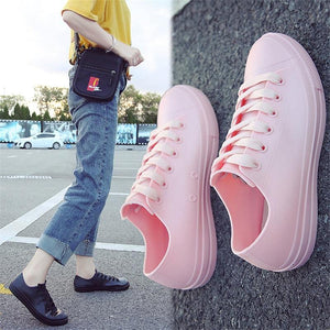 Rainboots For Women White Sneakers Shoes Waterproof Soft PVC Spring Autumn Female Casual Flat Shoes Rubber Rain Boots | akolzol