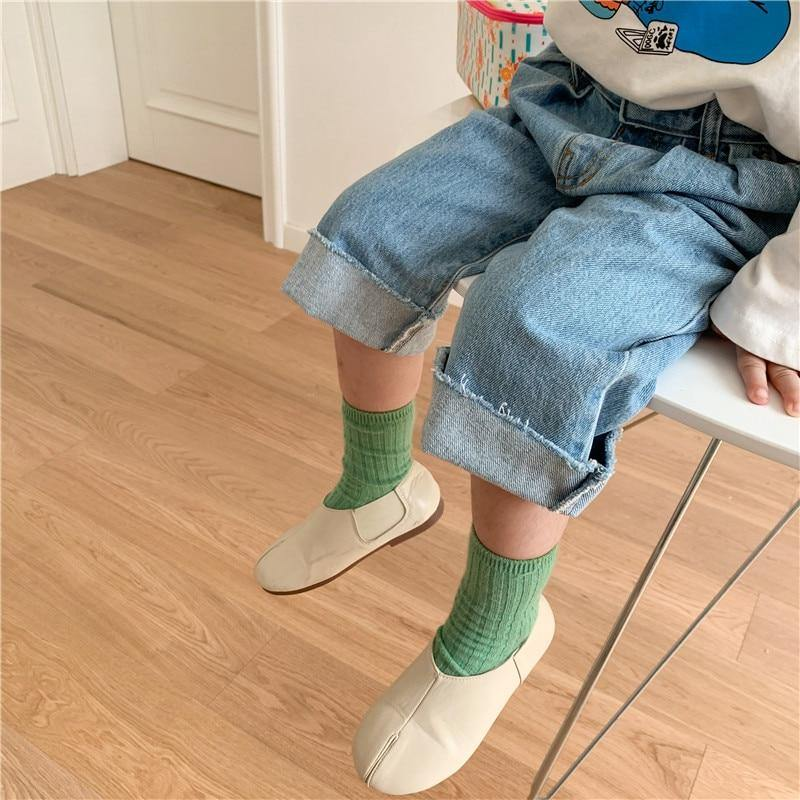 Autumn 1-7 years children casual wide leg denim pants boys girls all-match loose Fringed jeans | akolzol