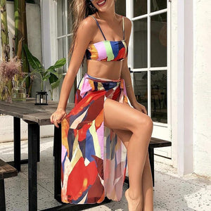 Sexy mesh skirt swimsuit women Colorblock print bikini set Bandeau push up swimwear High waist bathing suit Beach wear | akolzol