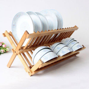 Wooden Bamboo Plate Racks Multipurpose Shelves Drainboard Kitchen Pot Lid Holder Dish Drain Dish Rack | akolzol