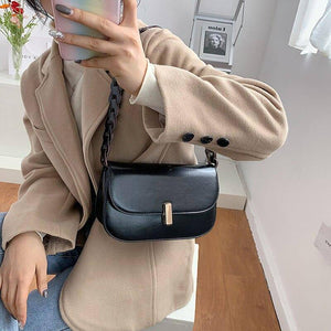 Vintage Wide Strap Design Shoulder Bags for Women Winter Fashion Pu Leather Crossbody Bag Trend Branded Female Saddle Handbags | akolzol