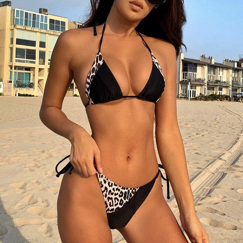 Sexy patchwork swimsuit women Leopard print swimwear Triangle micro bikini String high cut bathing suit Halter beach wear | akolzol