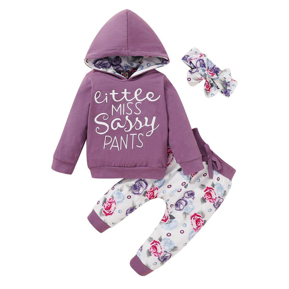 Ma&Baby 3-24M Autumn Newborn Infant Baby Girl Clothes Set Letter Hooded T shirt Top Floral Pants Outfits Baby Costumes | akolzol