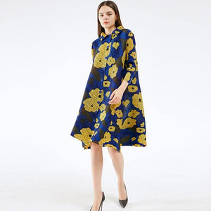pleated dresses summer 2020 yellow flower print dress lapel cardigan button plus size maxi dresses for women Long sleeve | akolzol
