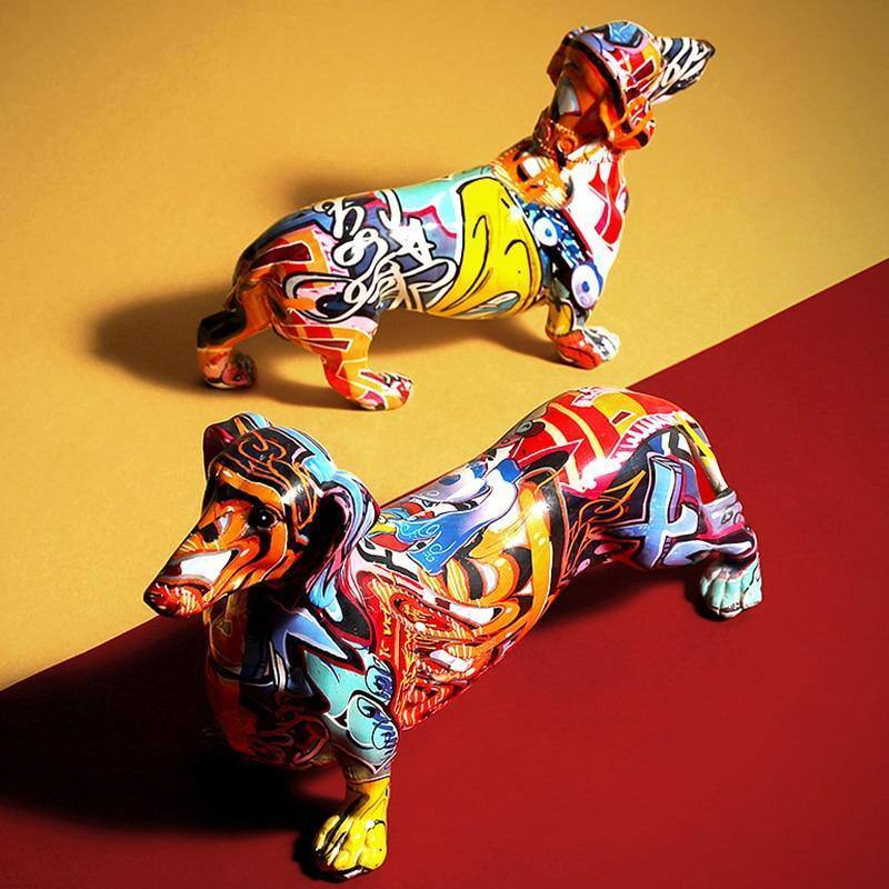Creative Painted Colorful Dachshund Dog Decoration Home Modern Wine Cabinet Office Decor Desktop Resin Crafts Miniatures Statue | akolzol