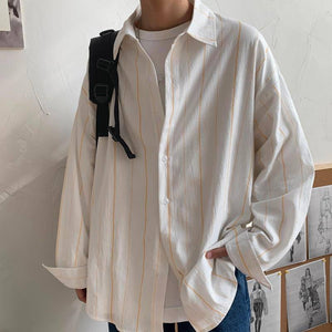 Spring Cotton Striped Shirt Men's Fashion Business Casual Shirt Men Korean Loose Long-sleeved Shirts Mens Dress Shirt M-2XL | akolzol
