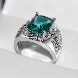 Real Natural Emerald Gemstone Jewelry S925 Sterling Silver Ring for Women Fine Silver 925 Jewelry Bizuteria Wedding Rings Box | akolzol