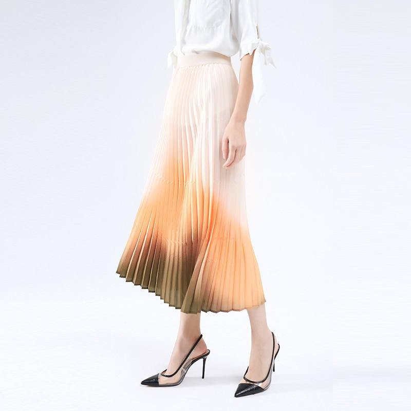New arrivals pleated skirt female 2020 summer korean style clothing high waist big swing a line long skirt plus size (Pink orange gradient) | akolzol